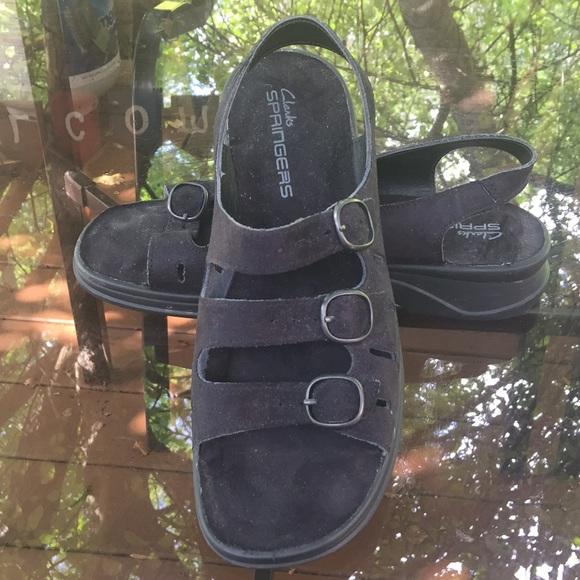 bd56d85354a Clarks Shoes - Women s Clarks Springers Black Leather Sandals 9M